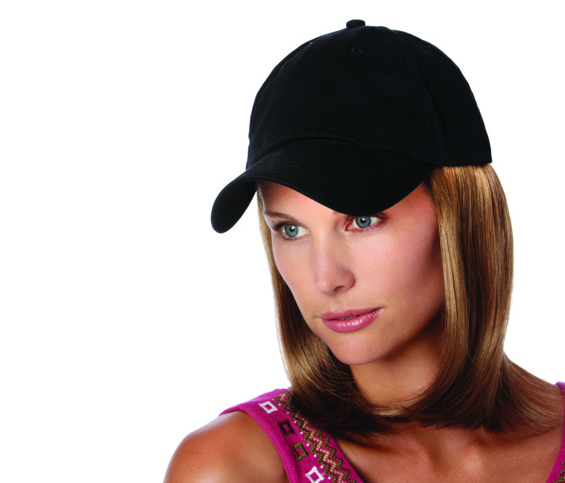 Black hats with classic hair wigs available at The Wig Lady in Berks County PA